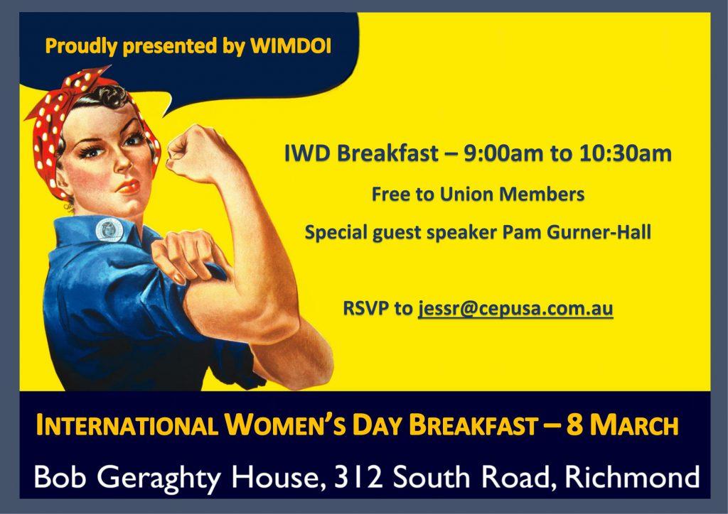 WIMDOI International Women's Day Breakfast 8 March 2017